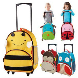 Canvas child school bag cartoon backpack primary school student trolley bag travel bag burdens Large