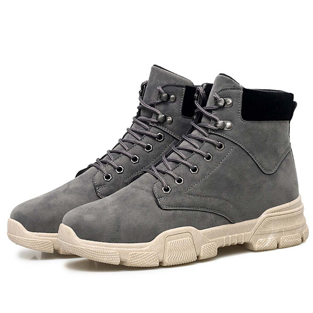 Men s Casual Lace Up Suede Ankle Flat Boots Male Winter Thicken Round  Rubber Toe Non-slip Waterproof Outdoor Motorcycle Boots f32676f62