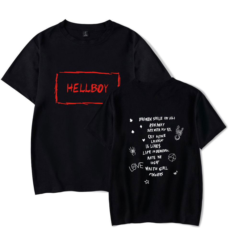 New T-Shirt Lil Peep Print Men Leisure Short Sleeve Tshirt Soft Cotton Hip Hop Streetwear Boy/Girl Lil Peep Rap Fans Clothes