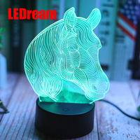 7 Color Lovely Horse 3D LED Night Light Dimming illusion Bedroom Lamp Holiday Light Child Kids Toys For Party lover birthday