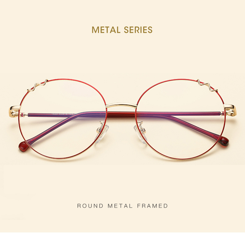 fd519c1c1cc6 2019 NOSSA New Metal Glasses Frame Cat Ears Round Flat Mirror Men ...