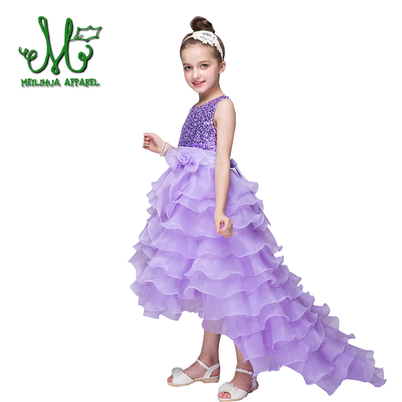 Girl Princess Party dress 2018 New fashion Wedding Dress Baby Girl Flower Bow Trumpet Dresses for 3 4 6 8 10 12 year summer 2017 new girl dress baby princess dresses flower girls dresses for party and wedding kids children clothing 4 6 8 10 year