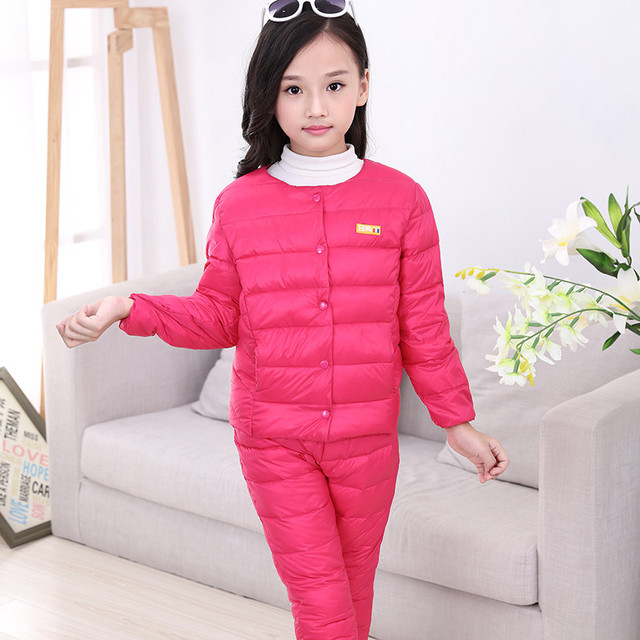 The Fall Of 2016 Winter Children Suit Sets Boys And Girls Down Jacket Coat + Trousers Warm Children's Clothes Five Colors