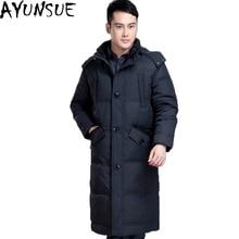 AYUNSUE Новая повседневная брендовая мужская зимняя куртка на утином пуху размера плюс 5XL теплое длинное пальто Мужская ветрозащитная парка LX1088