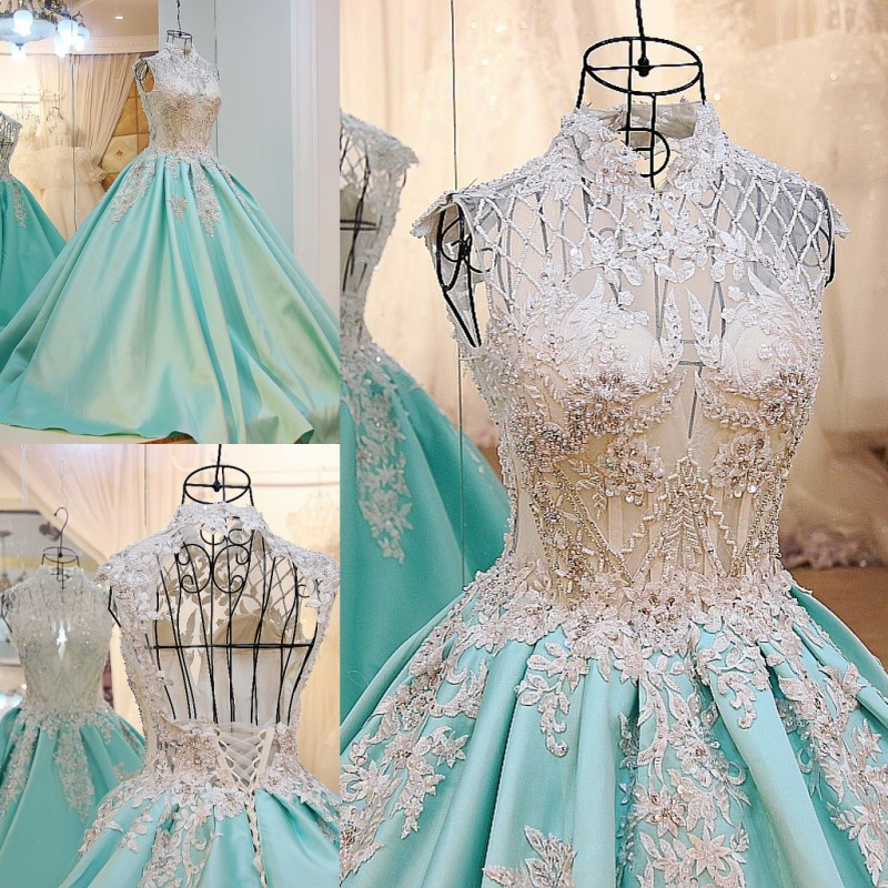 A line Satin Lace Flowers Beading Elegant Open Back   Evening     Dresses   2017 vestidos de fiesta largos elegantes AB9