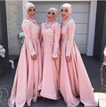 Hot Muslim Style Long Sleeves Bridesmaid Gowns Peach/Ivory/Champagne/Silver/Coral/Burgundy/Pink Bridesmaid Dresses Fast Shipping