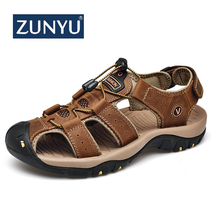 ZUNYU 2019 Male Genuine Leather Men Sandals Summer Shoes