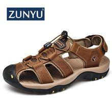 ZUNYU 2019 nuevos zapatos de hombre de cuero genuino sandalias de los hombres de verano Zapatos de los hombres sandalias de playa de Moda hombre Casual al aire libre zapatillas tamaño 48