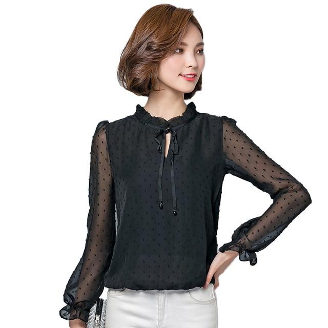 7aa41c46788 Black White Lace Chiffon Blouse Women Fashion Ruffle Shirt Women Tie Stand  Collar Mesh Long Sleeve Top Blusas Camisas Femininas