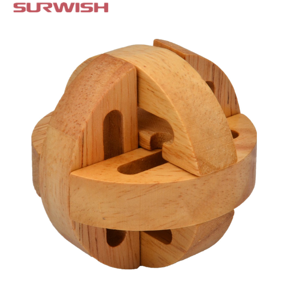 Surwish Puzzle Brain Training Toys Kong Ming Lock Lu ban Locks Destiny Wooden Puzzle Educational Toy for Kids Children Adult fun geometry rhombus tangrams logic puzzles wooden toys for children training brain iq games kids gifts
