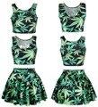 Adogirl Fashion Women Black Milk Digital Print Green Leaf Skater Skirt and Crop Top 2 Piece Skirt Set hipster swag vogue suit
