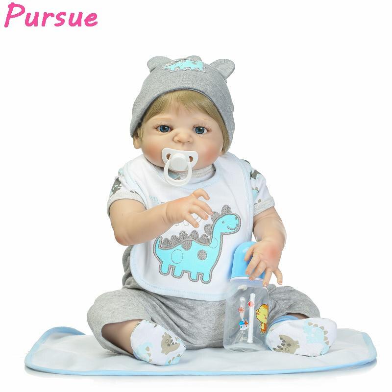 Преследовать 57 см Детские Куклы выглядят как настоящие Reborn новорожденных полный Средства ухода за кожей силиконовые реалистичные детские ...