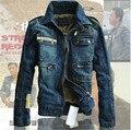 Военные Куртки Новый 2015 Джинсовая Куртка Моды для Мужчин Отверстие тонкий Синий Куртки Для Мужчин, Зима Мужчины Пальто На Открытом Воздухе Топ Плюс размер