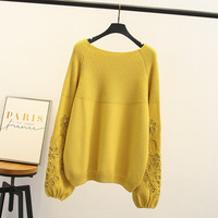 Female Sweet Rivet Beaded Yellow Sweater Long Sleeve Women Knitted Knitwear Ladies Pullover Plus Size 3XL 4XL Women Clothing