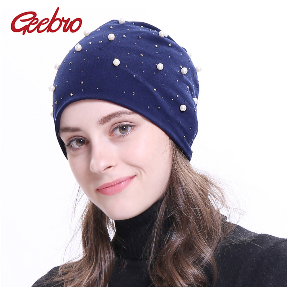 Geebro 2018 New Women's   Beanie   Hat Autumn White Pearl Rhinestones Slouchy   Beanie   for Female Polyester   Skullies     Beanies   GC307M