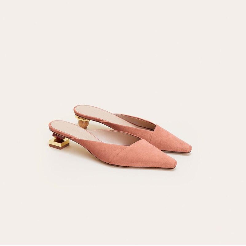 Talón Nuevo De Antideslizante Extraño Mujeres Genuino Cuero Primavera Zapatillas Mulas 4w1Px