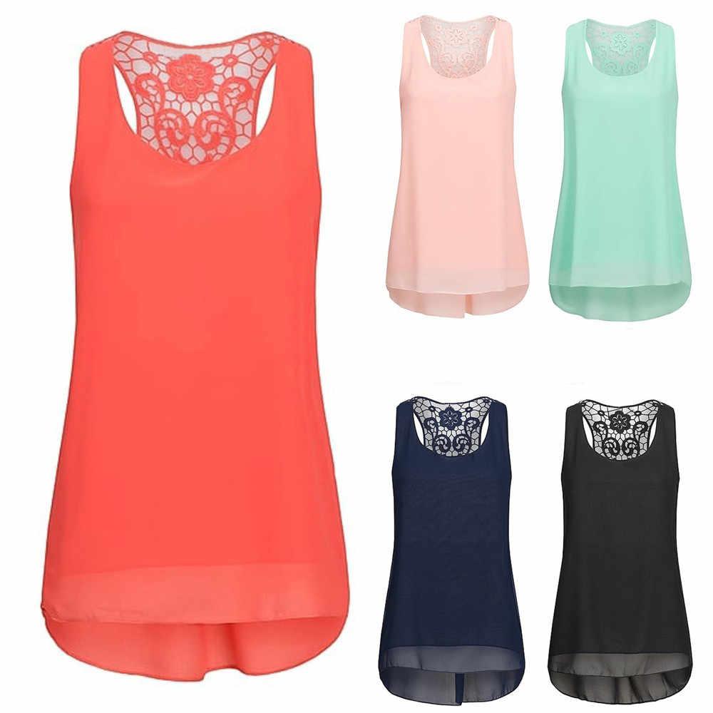 Feitong プラスサイズファッション女性のレースのパッチワークシフォンチュニック Tシャツ女性シャツカジュアルノースリーブブラウス夏女性 Blusa トップス