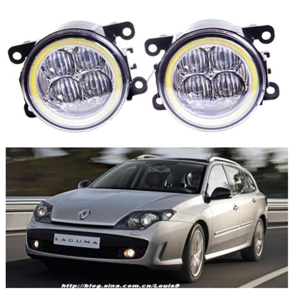 For Renault Laguna 3 Coupe DT0 DT1 2008-2015 Angel eye LED fog lamp 9CM daytime running light Spotlight DRL OCB lens