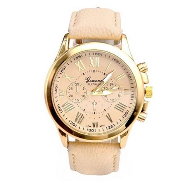Geneva Quartz Watch Women S Luxury Brand Leather Roman Numerals Dial Watches Men Gold Clock Hours Montre Femmes Relogio