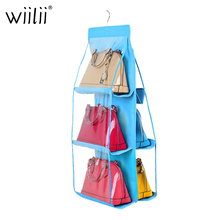 6 Pockets Hanging Organizer For Luxury Brand Chain Shoulder Bag Storage Tools Collapsible Dustproof Handbag Holder
