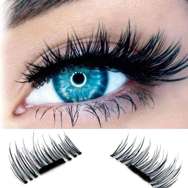 4 Pcs/Pairs Fashion 3D Magnetic False Fake Eyelashes Extension Eye Beauty Makeup Accessories Soft Hair False Eyelashes Dropship