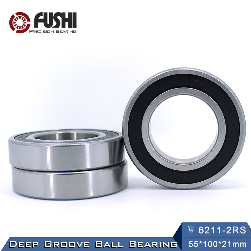 6211RS Bearing ABEC-3 (1 PCS) 55x100x21 mm Deep Groove 6211-2RS Ball Bearings 6211RZ 180211 RZ RS 6211 2RS EMQ Quality 6401 bearing size 12 x 42 x 13 mm 2 pcs heavy duty deep groove ball bearings 6401rs 6401 2rs