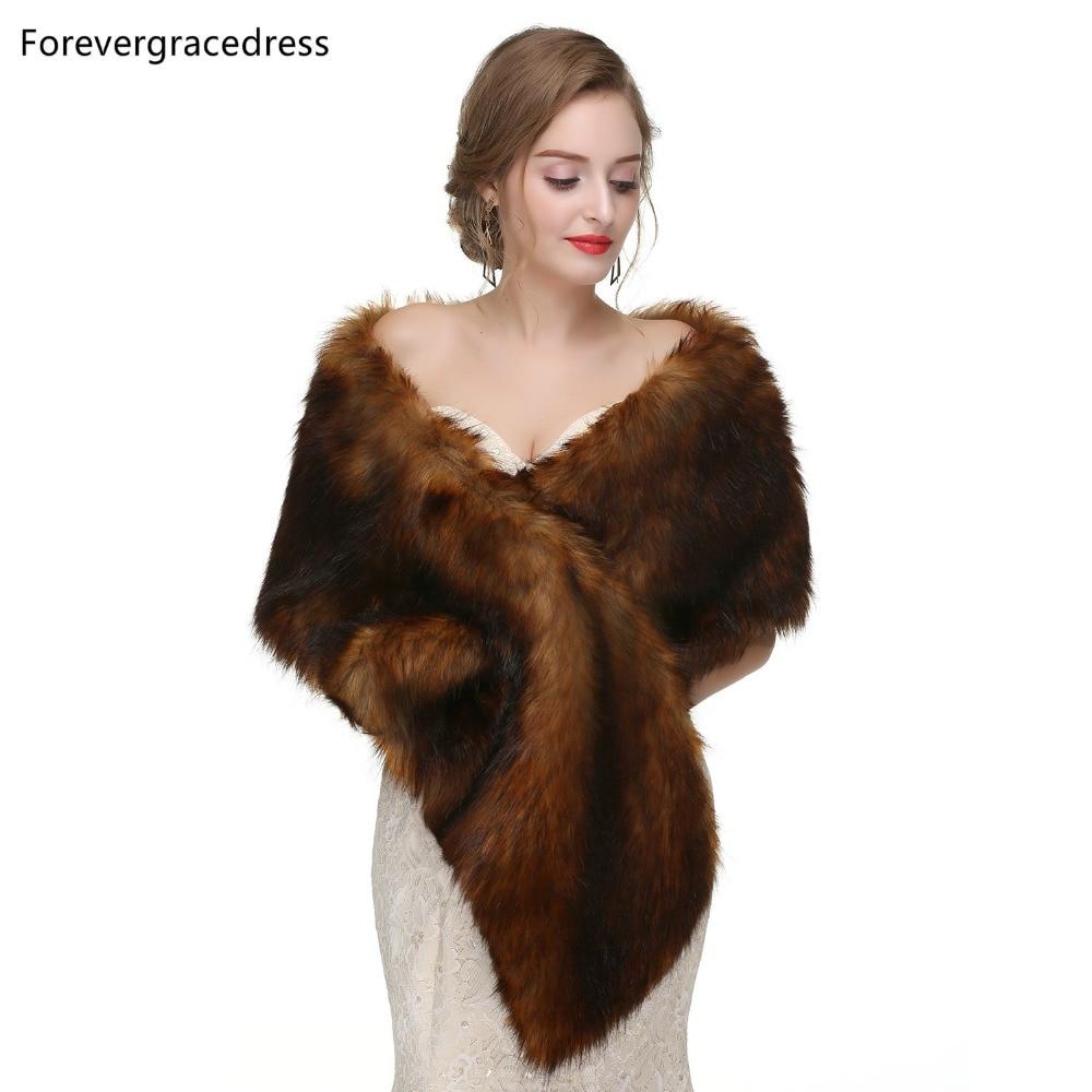 Forevergracedress 2019 Elegant Soft Autumn Winter Faux Fur Bride Wedding Wraps Bolero Jackets Bridal Coats Shawls Scarves PJ447