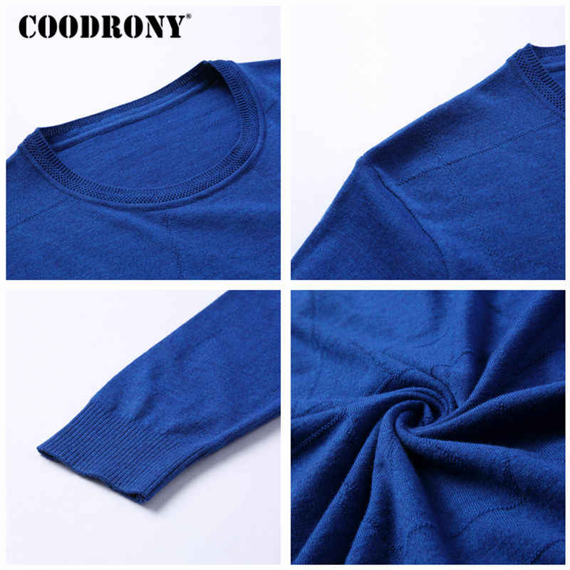 COODRONY Spring Autumn Pullover Men Woolen Sweater Men Knitted Cotton Pull Homme Classic Casual Long Sleeve O-Neck Sweaters 8108