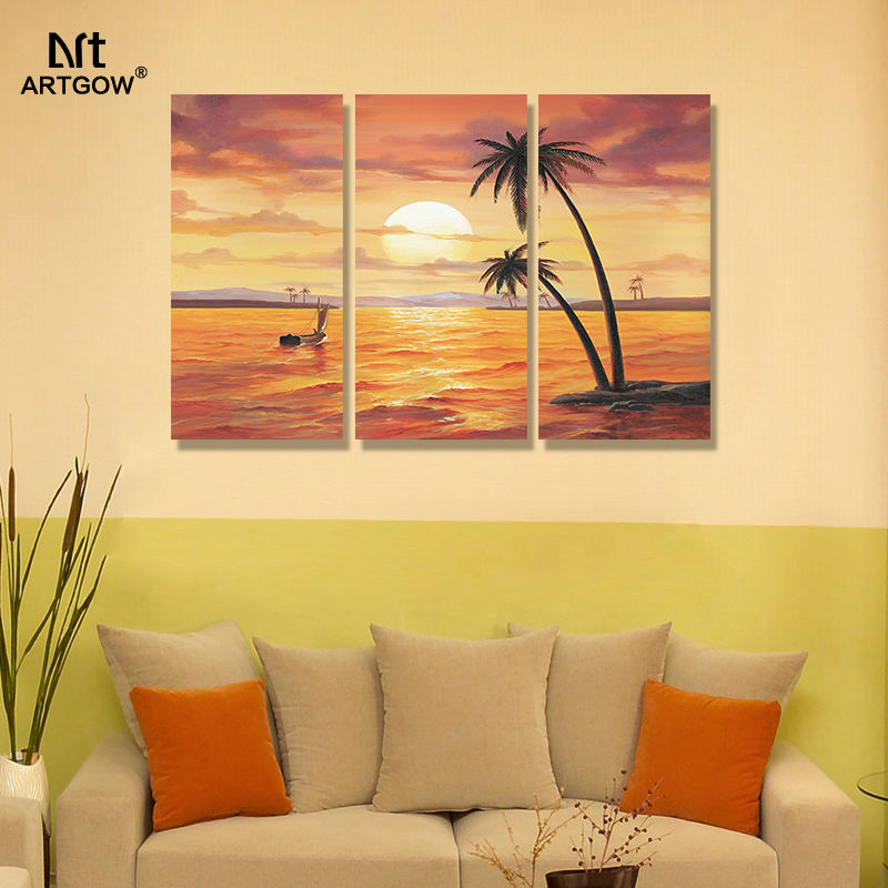 Beautiful gold seaside 3 pcs Landscape living room Decoration sunset Hawaii Canvas Painting wall pictures home decor unframed-in Painting & ...