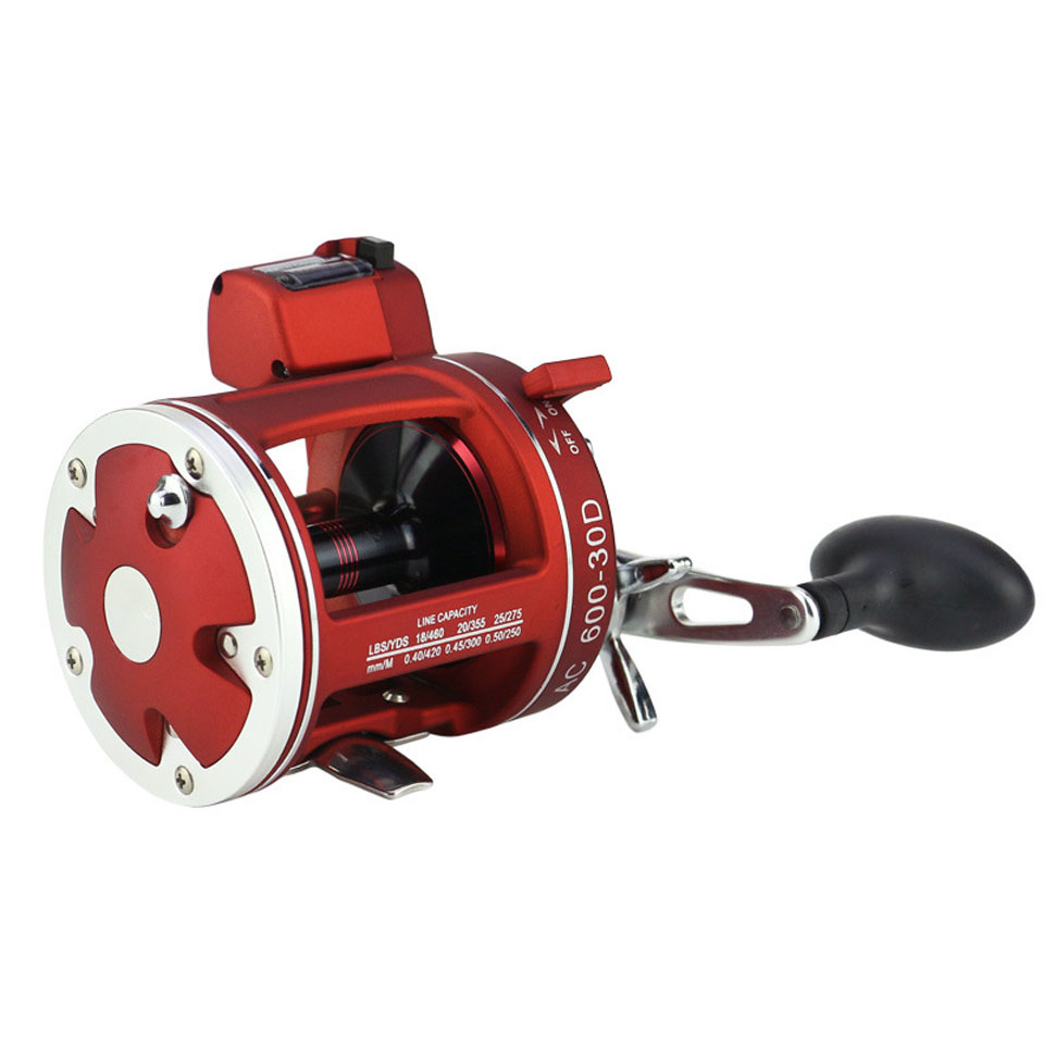 Full metal Red Right Hand Bait Casting Fishing Reel with Counter 12BB High-strength Body Cast Drum Wheel nunatak original 2017 baitcasting fishing reel t3 mx 1016sh 5 0kg 6 1bb 7 1 1 right hand casting fishing reels saltwater wheel