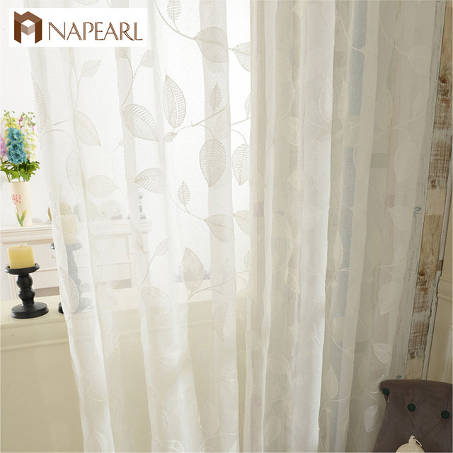 Embroidered Tulle Curtains White Linen Modern Sheer Living Room Window  Treatments Kitchen Door Floral Design Short