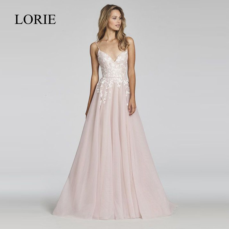 LORIE A Line Lace Wedding Dress 2018 Vestido De Noiva Princesa Bridal Dress Sexy Backless Puffy Tulle Beach Wedding Dresses