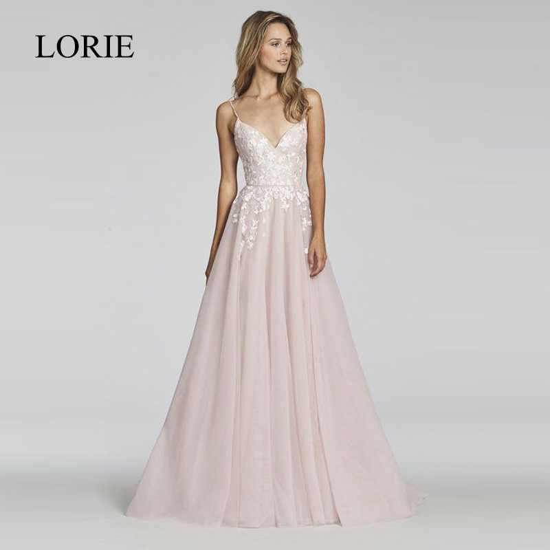 LORIE A Line Lace Wedding Dress 2018 Vestido De Noiva Princesa Bridal Dress Sexy Backless Puffy Tulle Beach Wedding Dresses