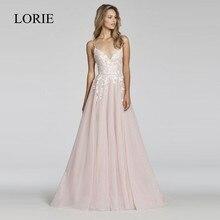 LORIE bir çizgi dantel düğün elbisesi 2018 Vestido De Noiva Princesa gelin elbise seksi Backless puf tül plaj düğün elbisesi es