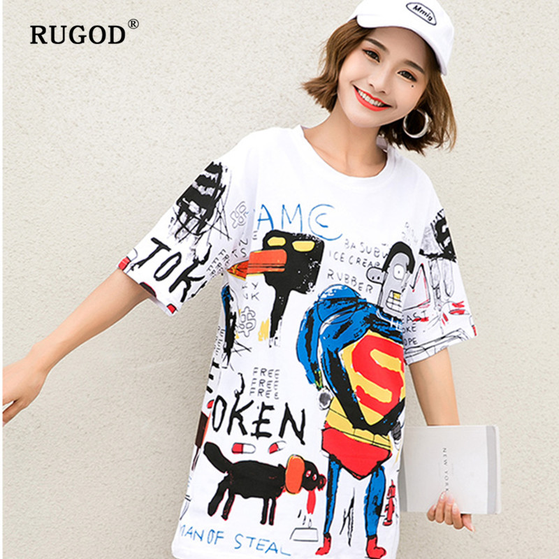 RUGOD 2019 New fashion cotton print tshirt Korean version loose plus size women O-neck camisetas verano mujer 2019 image