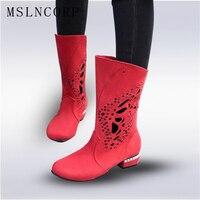 בתוספת גודל 34-48 פסקי לחתוך אתחול קרסול נשים Zapatos Mujer מגפיים מגניבים קיץ אישה מגפי אופנועני אמצע שוק חלול קלאסי נעלי