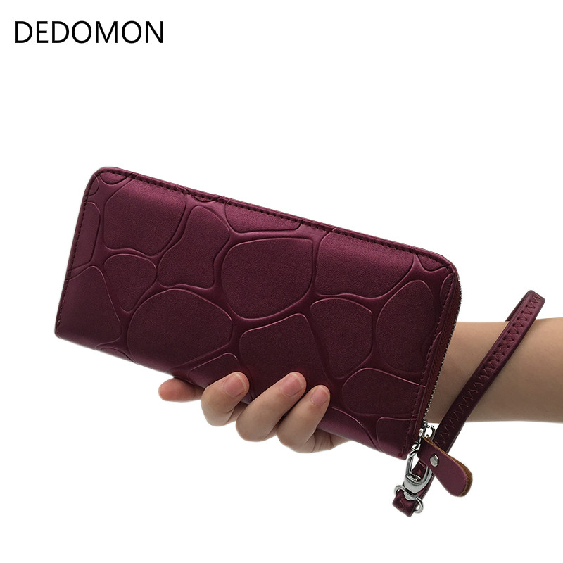 2019 Stone Pattern Zipper Long Leather Women Wallet Luxury Brand Desigher Female Purse With Loop Clutch Coin Bag For Card Holder