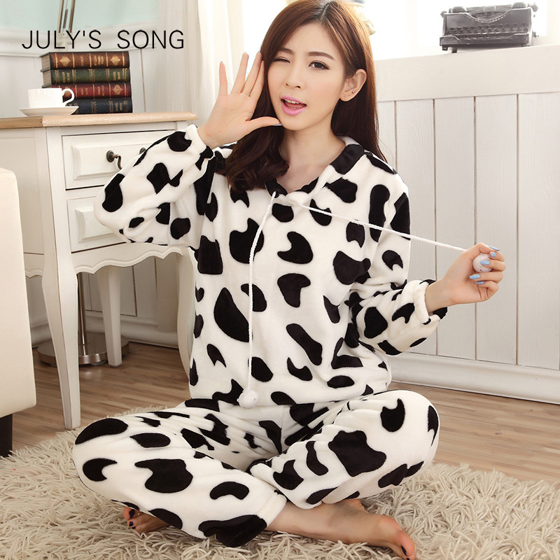 JULY'S SONG Cartoon Flannel Women Pajama Sets Autumn and Winter Cute Female Homewear Thick Warm Women Sleepwear 7