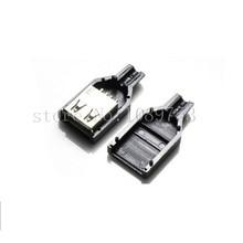 20pcs USB 2.0 A Female Plug Socket Connector&Plastic Cover USB Plug Adapter Connector Socket for DIY Black