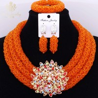 Luxury Orange Statement Necklace Set 3 Layers High Quality Indian Jewelry Accessories Antique Jewelry Sets For Girl Vintage Gift