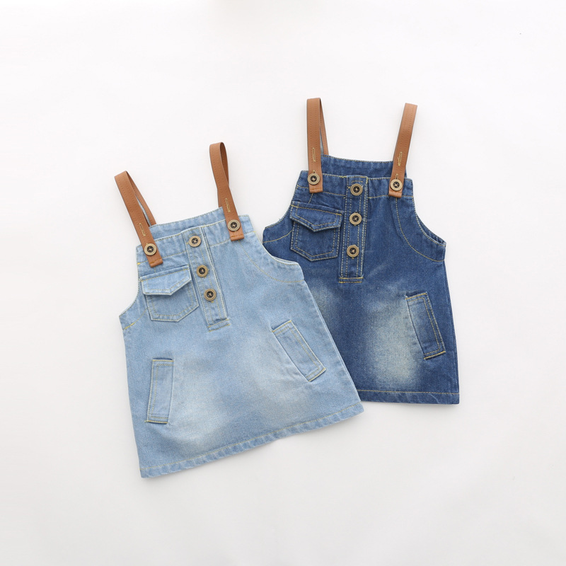Children's Kids Baby Denim Jeans Washed Girls Strap Romper Overall Dresses Sundress Princess Casual Straigh Dress Vestidos S2975 2017 new arrival baby girls denim sundress girls fashion sundress kids suspender denim dress child casual sundress