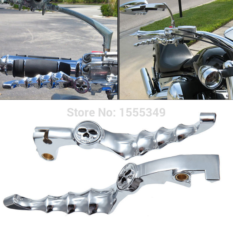 1 Pair Aluminium Motorcycle Brake Clutch Levers Skull Brake Lever For HONDA Shadow 600 750 400 CBR 600 900RR CB750 919 VTX1300 стоимость
