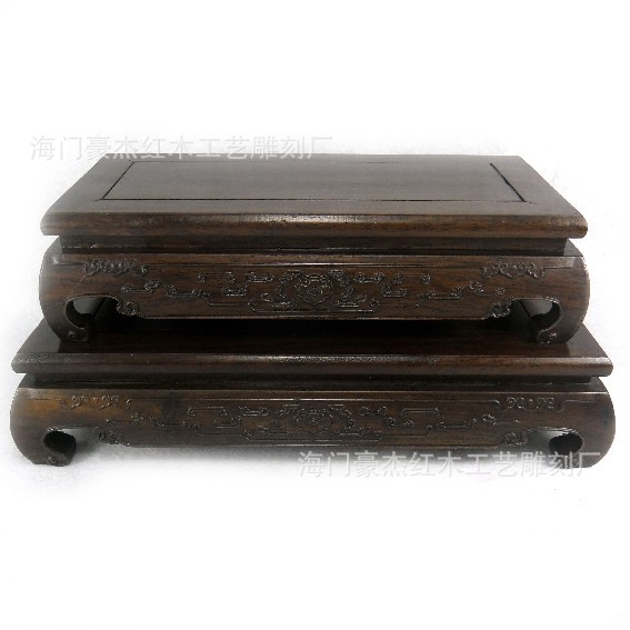 A Set Of Two Black Rosewood Rosewood Rectangular Base Stone Transposon African Blackwood Base