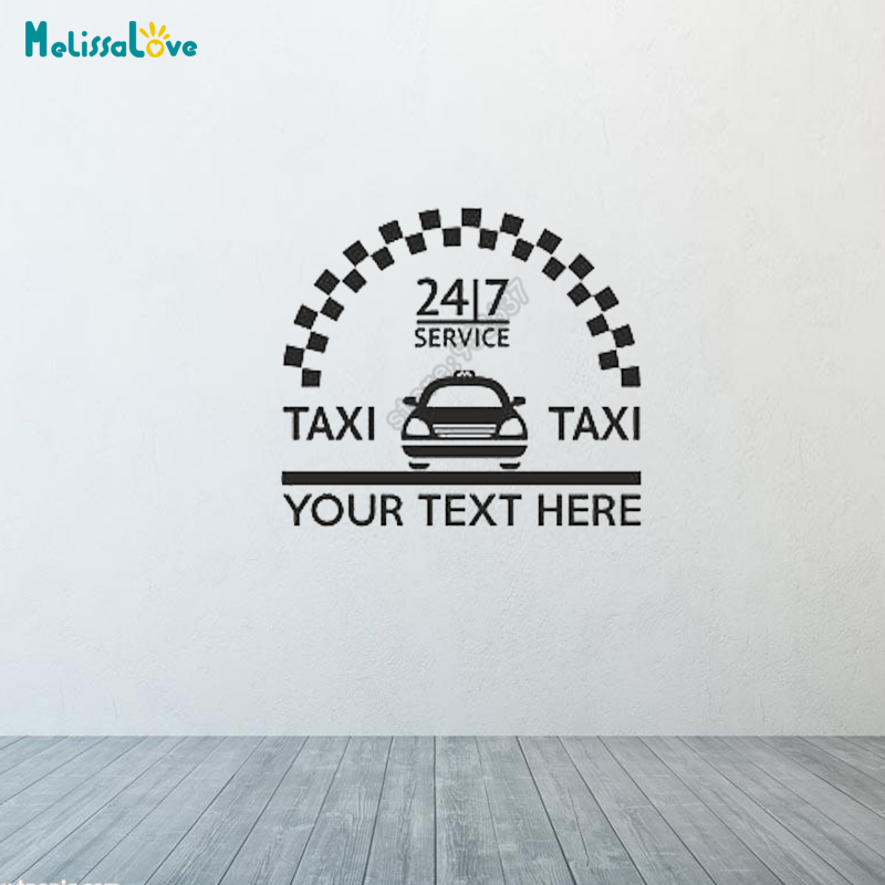 Custom Text Design Taxi Car Service Mini Cab Private Hire Business Car Decal Sign Sticker Window Decal Vehicle Stickers B571