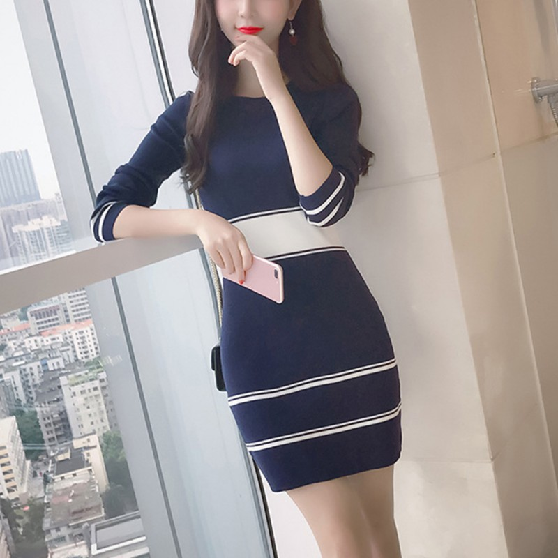 Women Fashion Sweater Dress Stripe Bodycon Long Sleeve Slim Pullover Knitted Mini Dress
