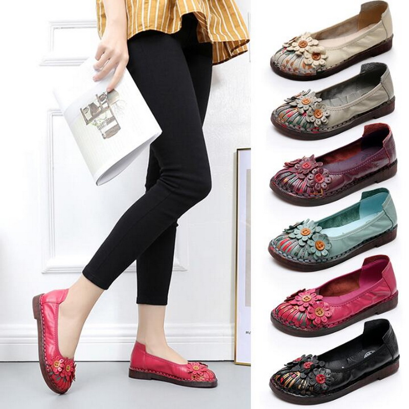 Loafers Summer Flat Shoes Women Genuine Leather Shoes Ballet Flats Flower Casual Work Cowhide Women ShoesLoafers Summer Flat Shoes Women Genuine Leather Shoes Ballet Flats Flower Casual Work Cowhide Women Shoes