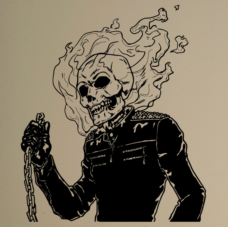 Flaming Skull Vinyl Decal Ghost Rider Comics Antiheroes Wall Sticker Home Interior Graphics Bedroom Decor Cool