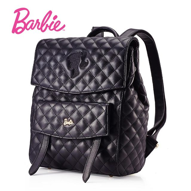 Barbie 2018 NEW fashion backpacks women backpack black Leather     Barbie 2018 NEW fashion backpacks women backpack black Leather school bag  women Casual style bags rhombic