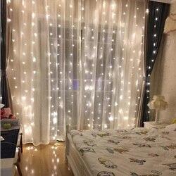 3X2.5M 240LED Christmas Garland LED Fairy String Light Party Garden Wedding Window Home Hotel Festival Decoration Curtain Lights
