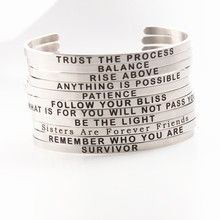 Wholesale Stainless Steel Engraved Positive Inspirational Quote New BAR Cuff Bracelet Mantra Bangle for women